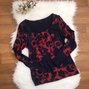 Semantiks Navy long sleeve top with red flowers